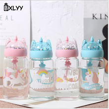 BXLYY Sequined Unicorn Glass Water Bottle Korea Creative Trend Portable Water Bottlewedding Favors and GiftsWater Bottle Sport6z(China)