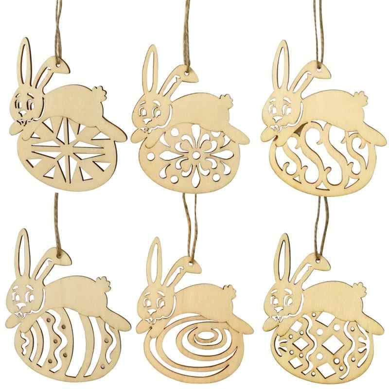 6PCS Easter Rabbit Wooden Cutouts Unfinished Wood Crafts Tags Decorative  Pendants with String for Easter Decorations D30