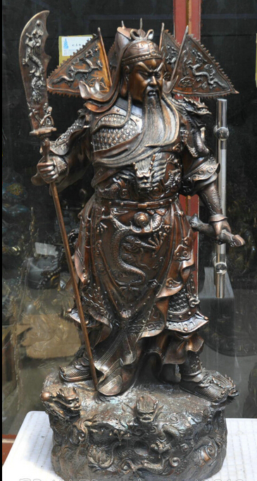Xd 003428 37 China Buddhism Bronze Copper General Soldier GuanYu Buddha Sculpture Statue