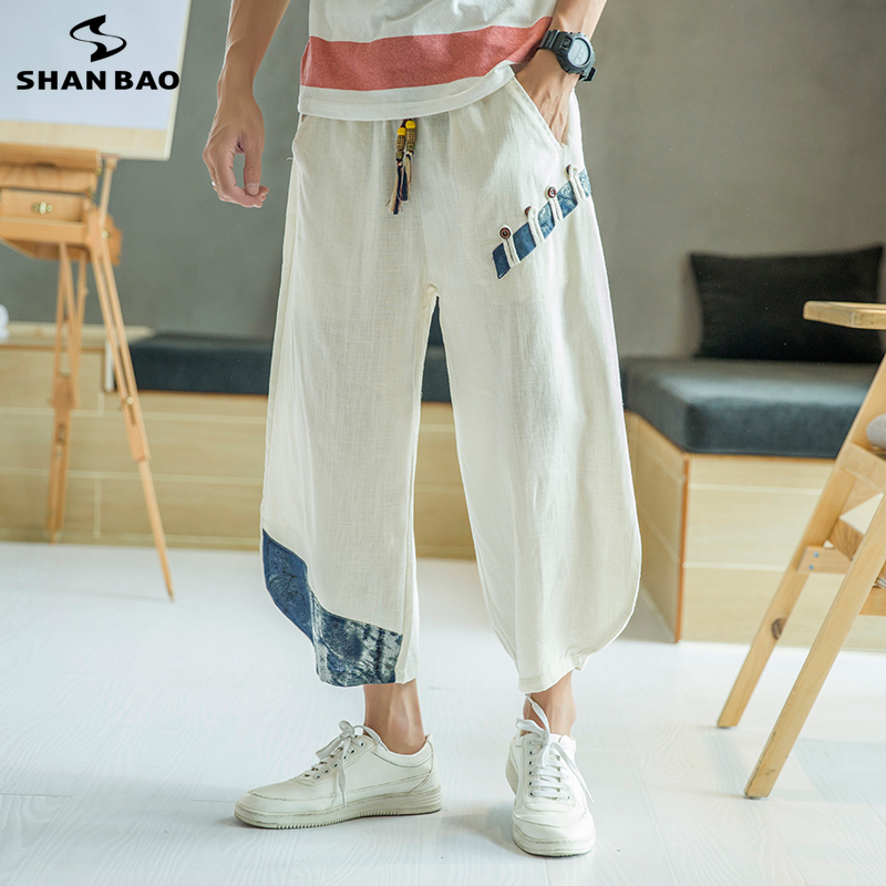 SHANBAO Brand Original Chinese Style Button Linen Cropped Trousers 2019 Summer New Men's Fashion Loose Casual Pants White Blue