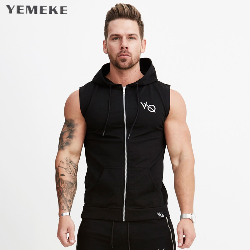 2017New arrival Cotton Hoodie Sweatshirts fitness clothes bodybuilding tank top men Sleeveless sporting Shirt Casual waistcoat v