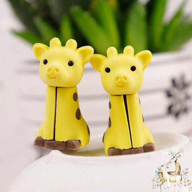 3pcs Cute Kawaii Creative Animal Giraffe Design Drawing Pencil Eraser Office Supplies School Stationery For Kids