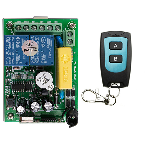 AC220V 2CH 10A Radio Controller RF Wireless Relay Remote Control Switch 315 MHZ 433 Transmitter+ Receiver