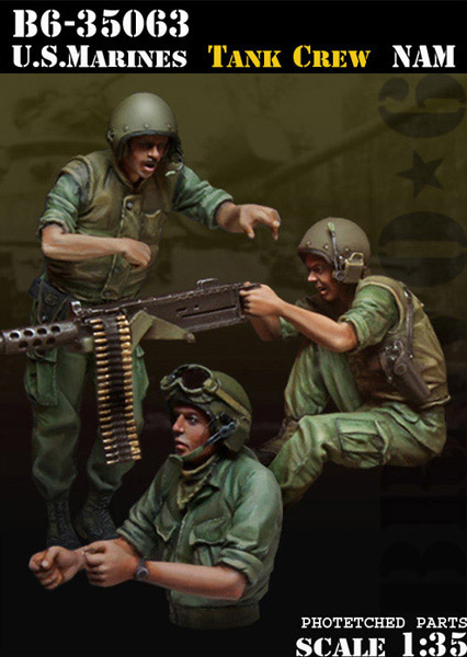 1/35 resin figures model kit Vietnam War US soldiers (3pcs/lot) Unpainted XD158(Includes earphone etched sheet) image