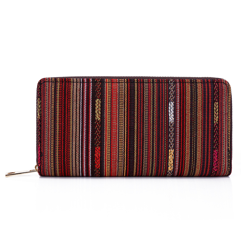 SANSARYA New Thai Woven Coffee Brown Metal Zipper Long Women Wallet Ladies Money Bag For Girls Female Purse Tribal Card Holder inc new brown blue women s xl tapered leg tribal printed pull on pants $69 233