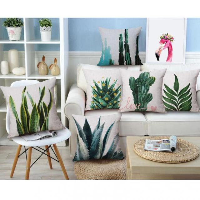 Home Decoration Nordic Style Cushion Cactus Decor Artificial Green Leaves Banana Leaf Tropical Plants Print
