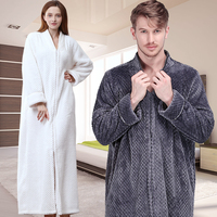 Women Men Extra Long Winter Warm Nightgown Plus Size Pregnant Zipper Sleepshirts Luxury Soft Grid Flannel Thermal Dressing Gown