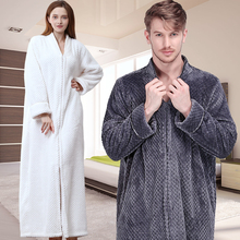 a79f069964f2 Women Men Extra Long Winter Warm Nightgown Plus Size Pregnant Zipper  Sleepshirts Luxury Soft Grid Flannel