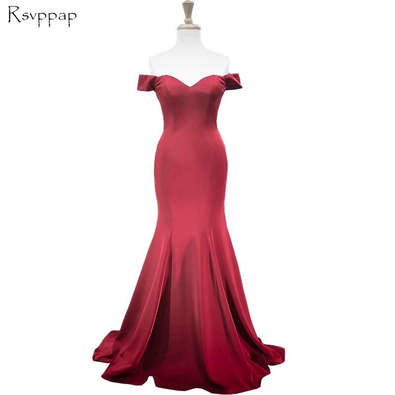 Real Sample Long   Evening     Dress   2019 Sexy Mermaid Off The Shoulder Floor Length Stretch Satin Burgundy Women Formal   Dresses