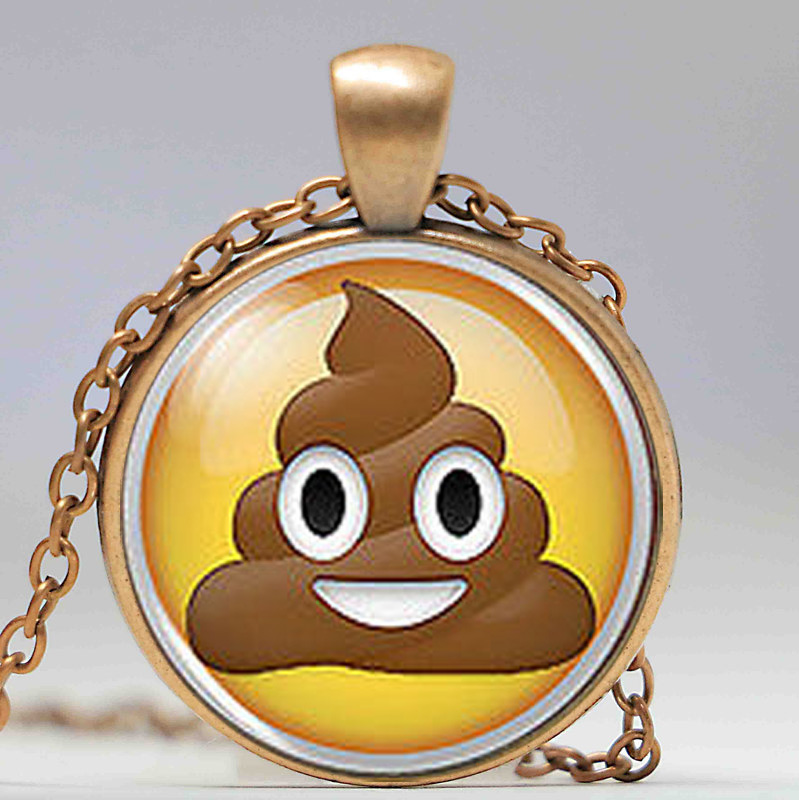 Emoji Face Angry Pendant Necklace Cabochon Glass Vintage Bronze Chain Necklace Jewelry Handmade