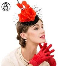 FS Elegant Wedding Dress Winter Hat For Women Black And Red Floral Wool  Pillbox Hats Fashion Mesh Gauze Fedora 4f6c8ff8e4b