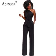 Abasona One Shoulder Women Jumpsuits Casual Wide Leg Pants Summer 2018 Black Red Rompers Womens Jumpsuit Party Overalls Female