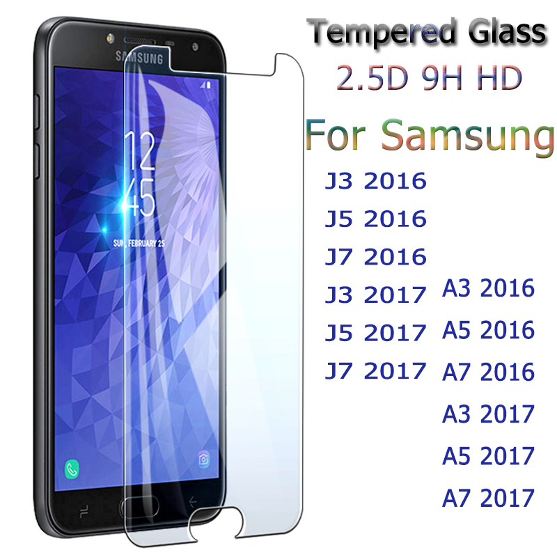 Protective-Glass Screen-Protector Samsung A3 Galaxy A7 for J3 J5 J7 2pcs A5 title=
