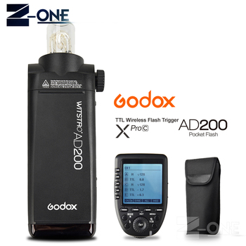 Godox AD200 200Ws TTL GN60 HSS Flash Built-in 2.4G Wireless +Xpro-C Flash Trigger Transmitter  for Canon 5D 6D 7D Mark II III IV