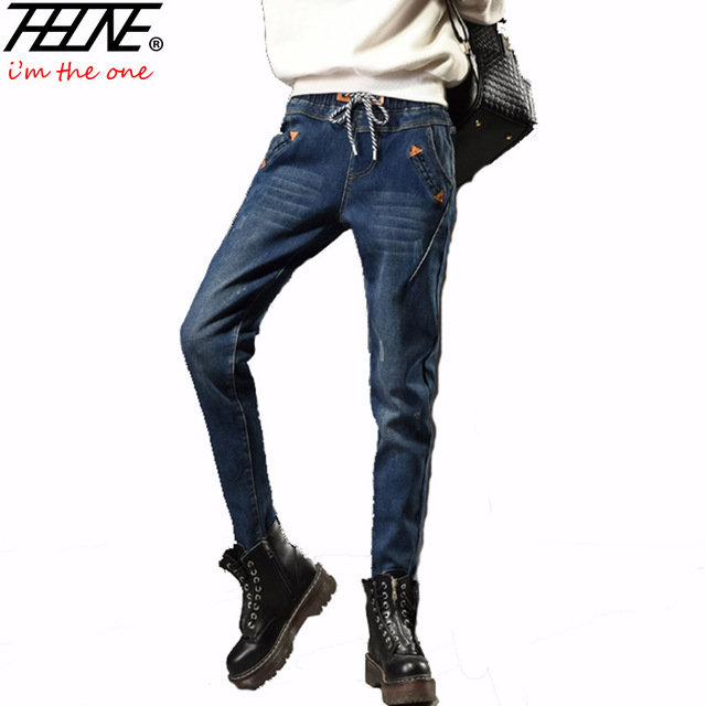 THHONE Women Harem Pants Casual Trousers Fleece Winter Jeans Plus Size Elastic Waist Fashion Boyfriend Jeans Female Denim Pants