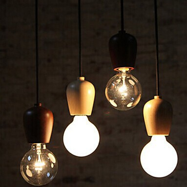 1 Light American Loft Style Edison Bulb Vintage Pendant Light For Home Lighting With Wood Base,E27 Bulb Included