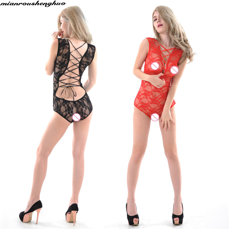 Hot Erotic Body Suit Underclothes Lingerie Brief Female Sexy Underwear Transparent Openwork Lace