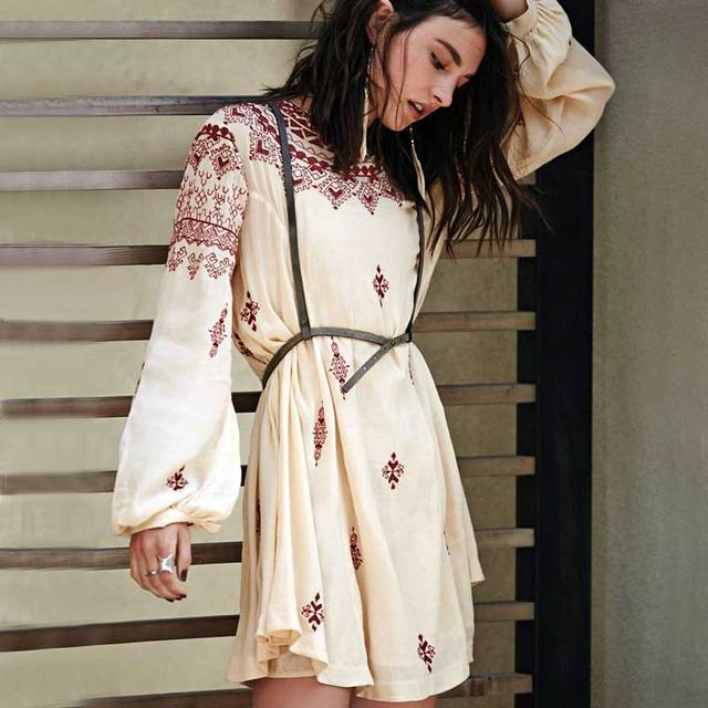 Womens Flower Embroidery Boho Dress Mini Robe Backless Long Sleeve ...