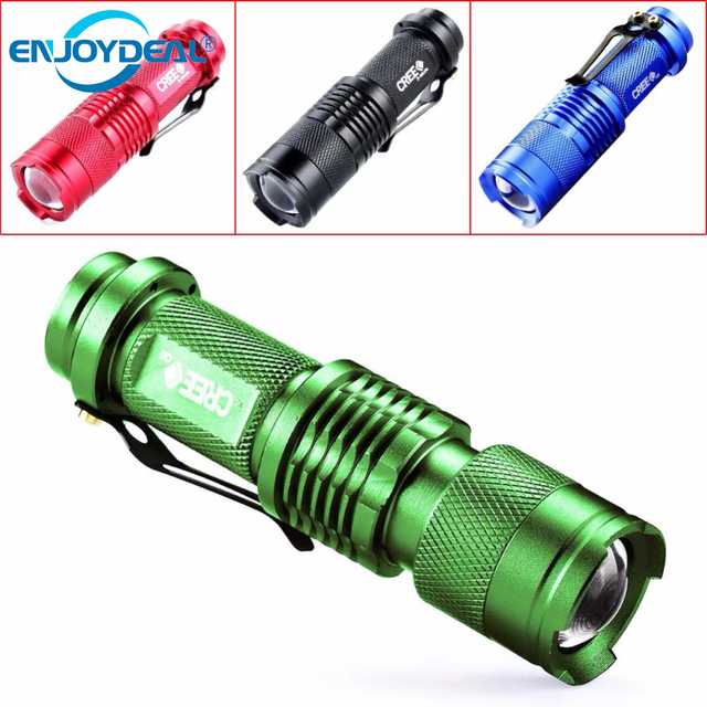 LED Flashlight Mini Zoom Torch Led CREE Q5 2000LM 3 Modes Zoomable Torch AA 14500 battery Flashlights led lanterna 4 colors
