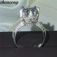 choucong Round cut 11mm Diamonique 8ct 5A Zircon stone 925 sterling Silver Engagement Wedding Band Ring For Women Sz 5 10