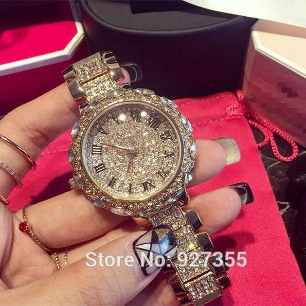 ¡ Venta caliente! Mujeres de Calidad superior de Relojes de Lujo de Acero Llena de diamantes de Imitación Reloj de Señora Crystal Relojes de Vestir de Oro Femenino Reloj de Cuarzo