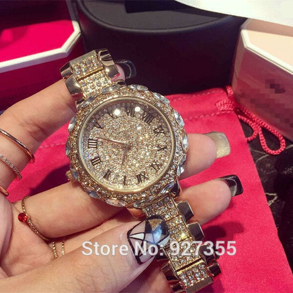 Hot Sale! Top Quality Women Watches Luxury Steel Full Rhinestone Wristwatch Lady Crystal Dress Watches Gold Female Quartz Watch binger hot sale brown women fashion steel square watches punk style of women dress watch golden analog crystal quartz wristwatch