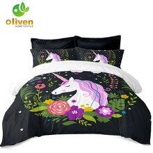 Princess Cartoon Unicorn Bedding Set Colorful Floral Duvet Cover Twin King Queen Girls Bedroom Decor Pillowcase D35