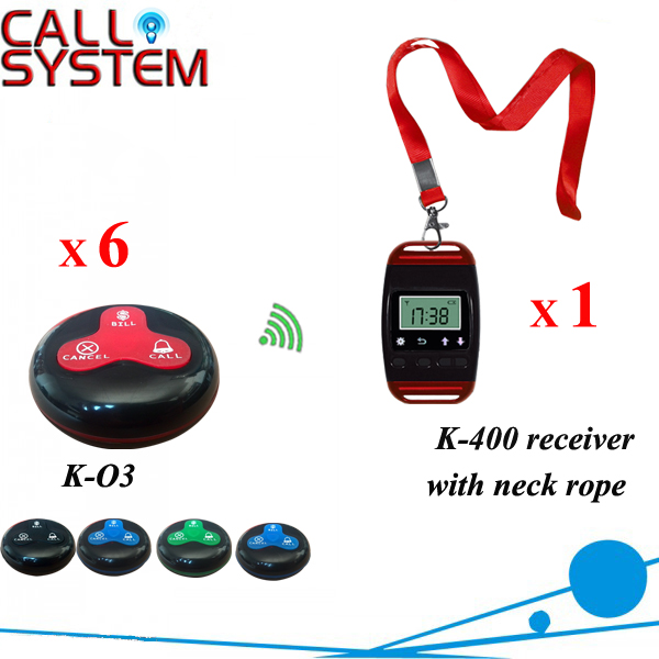 Restaurant Table System 100% waterproof service device 1 watch receiver with 6 bell buzzer in 433.92mhz wireless service call bell system popular in restaurant ce passed 433 92mhz full equipment watch pager 1 watch 7 call button
