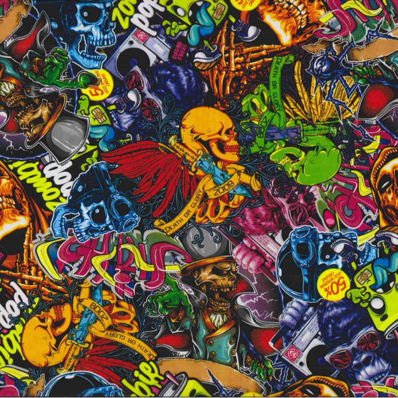 Skulls and Roses graphic Hydrographic Film dip stick hydro
