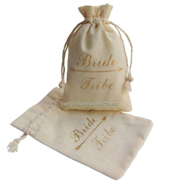 10pcs Gold Bride Tribe Unbleached Natural Cotton Muslin Bags Drawstring Wedding Bachelorette Party Bridal Shower