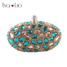 EB802 DHL Custom Made Turquoise Gold Crystal Evening Bag Clutch Bags  Clutches Lady Wedding Purse Rhinestones · 22 Colors Available 70b3e80da09b