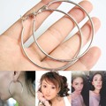 Hot Sale Exquisite Silver Plated Round Loop Big Circle Hoop Earrings For Women Girls Jewelry Engagement Earrings Gift