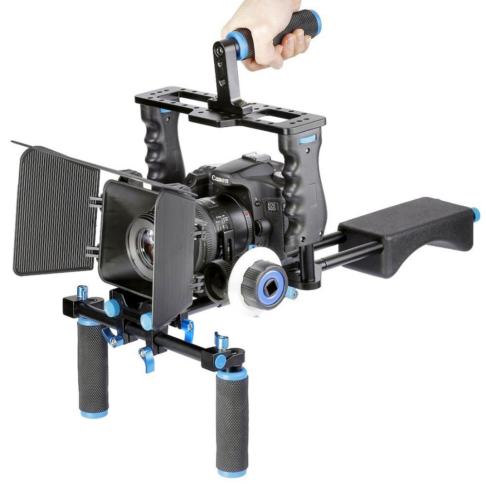 YELANGU Professional DSLR Rig Shoulder Video Camera Stabilizer Support Cage/Matte Box/Follow Focus For Canon Nikon Sony Camera yelangu aluminum alloy camera video cage kit film system with video cage top handle grip matte box follow focus for dslr