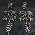 2017 New European Style Vintage Crystal Bride Earrings Fashion Leaf Dangle For Brand Women Wedding Jewelry XH-ER0065