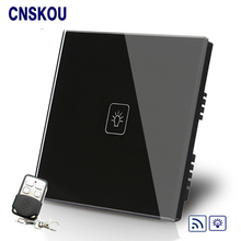 Free Shipping SANKOU UK Remote Switch Dimmer 1Gang1Way Black Crystal Glass Touch Sensitive+LED Switches
