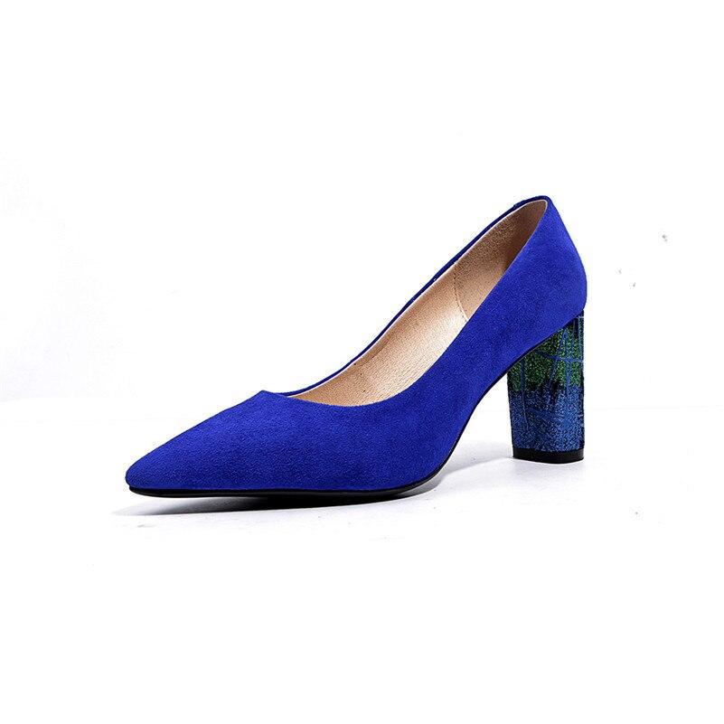 in nero Fedonas scarpe di festa a 8Cm donna Top alto pelle scamosciata blu pompe sexy nozze donna spillo tacco tacco qualità Glitters xIBIn8qR