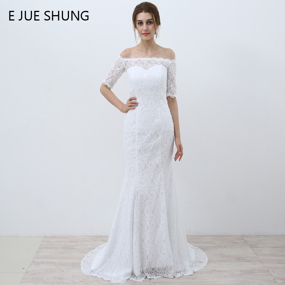 E JUE SHUNG White Vintage Lace Cheap Mermaid Wedding Dresses Off the Shoulder Half Sleeves Wedding