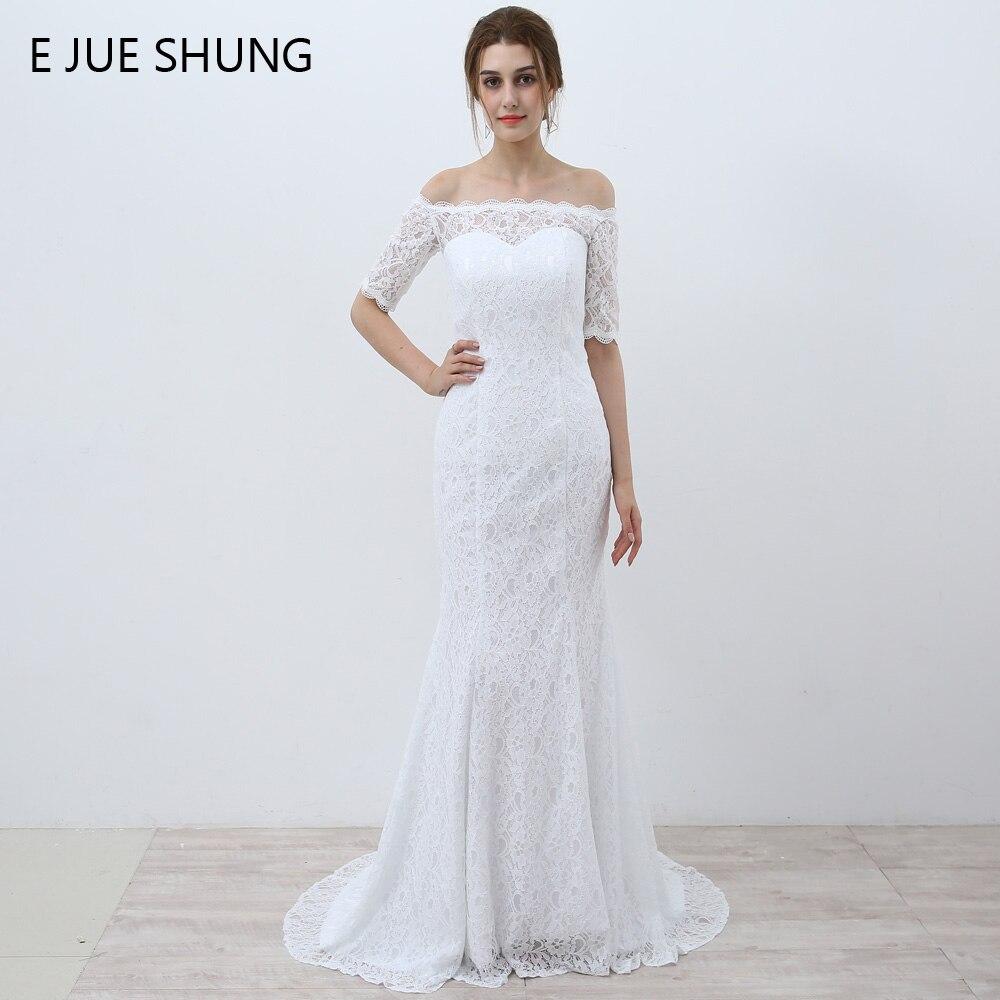 E JUE SHUNG blanc Vintage dentelle pas cher sirène robes de mariée hors de l'épaule demi manches robes de mariée robes de novia