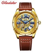Gladster Мужчины Спортивные Часы Полностью Автоматическая Полые Механические Часы Из Натуральной Кожи Часы 50 м Водонепроницаемые Мужские Часы Роль