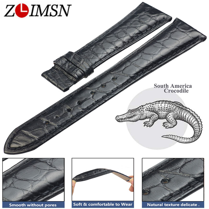 ZLIMSN Crocodile Leather Black Strap Fashion Circle Pattern Hand-Stitched Luxury Quality Men and Women Watch Band 22mm 12mm-26mm fashion rabbit and grass pattern 10cm width wacky tie for men