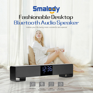 Image 2 - Smalody TV Bluetooth Speaker Portable Wireless Sound Bar Dual Loudspeakers 10W with Alarm clock LED Display Handsfree Call AUX