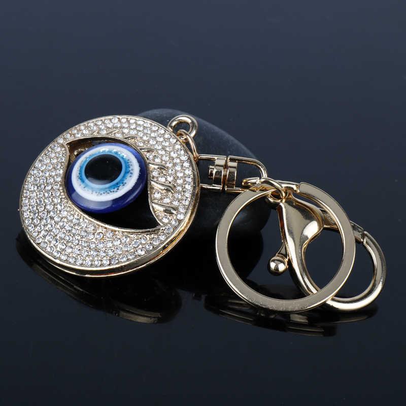 מתכת קריסטל עין רעה מפתח טבעת Keychain נשים קסמי רכב מפתח תיק תליון מפתח שרשרות תכשיטי llaveros הטוב ביותר מתנות חבר