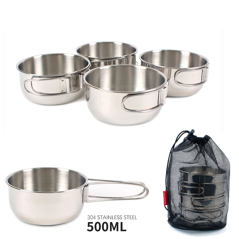 4pcs Stainless Steel Outdoor Backpacking Camping Picnic Cookware Cooking Set