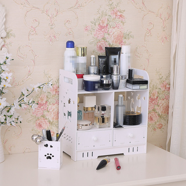 DIY Storage Box Desktop Shelves Cosmetic Organizer Bathroom Waterproof  Cosmetics Storage Rack Dresser Finishing With Drawers