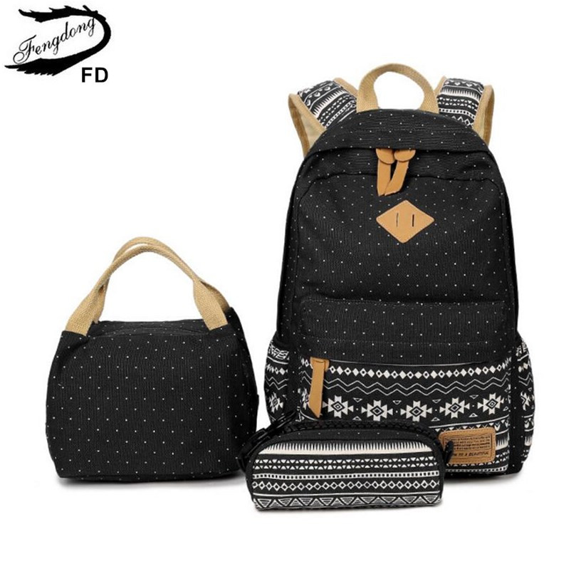 FengDong 3pcs/set Kids Vintage Canvas School Backpack Bag Set School Bags For Teenage Girls Polka Dot Backpacks For Children