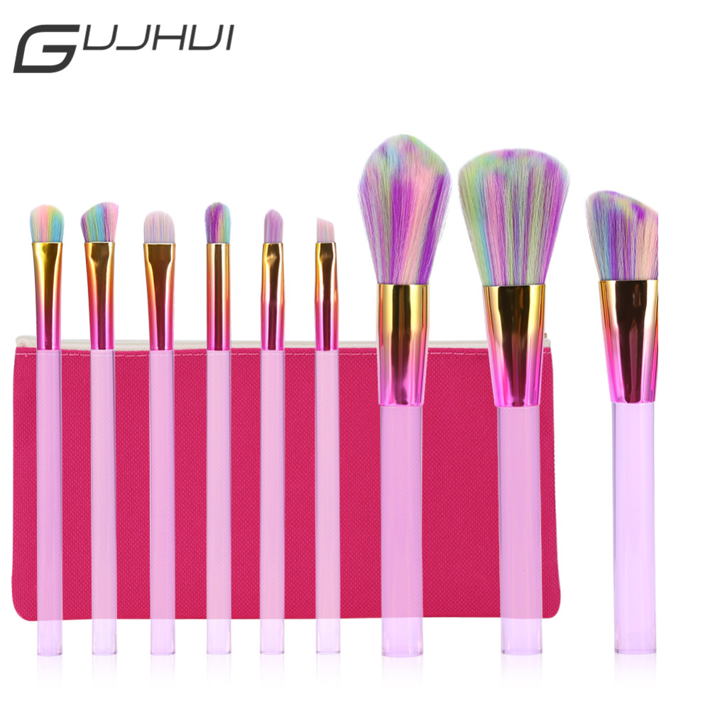 GUJHUI 10Pcs Pro Metal Makeup Brush Set Cosmetic Powder Contour Blusher Eyebrow Synthetic Hair Brushes Kit Make Up Tool with Bag 7pcs makeup brushes professional fashion mermaid makeup brush synthetic hair eyebrow eyeliner blush cosmetic