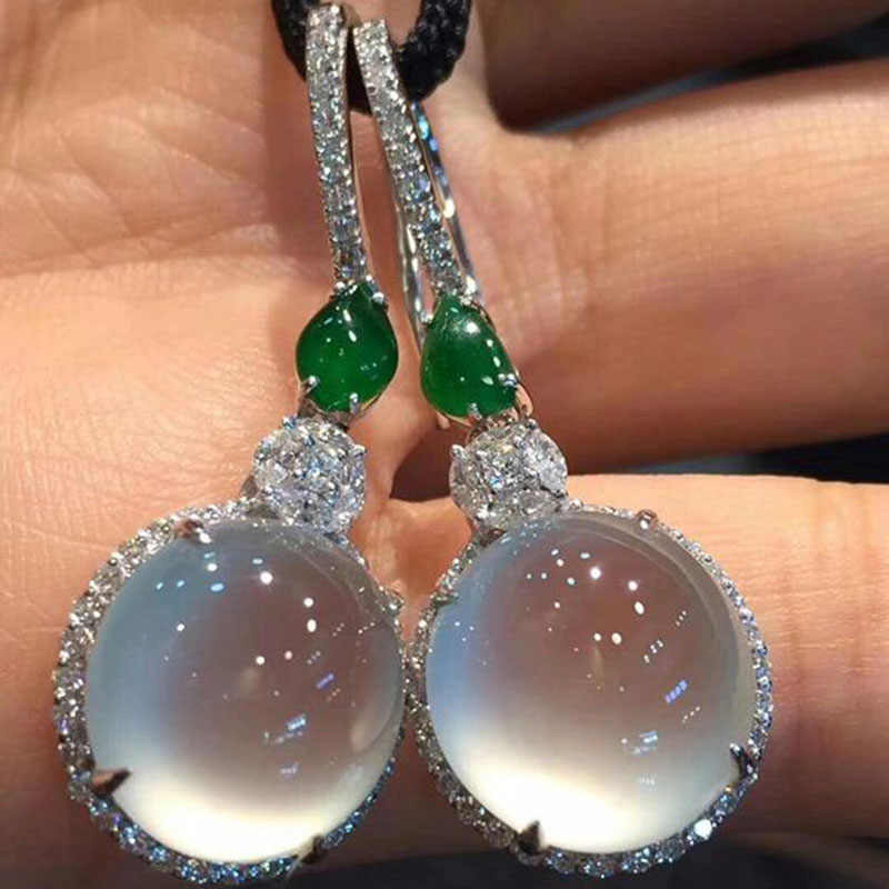 Fashion Round Circle Moonstone Korean Earrings For Women Statement Wedding Jewelry Crystal Resin Drop Earrings Pendant O4M043