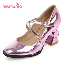 MEMUNIA 2017 New arrive women pumps four seasons single shoes party big size 33-44 high heels shoes solid shallow buckle pu