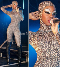 Free Shipping DHL Sexy Singer Costumes Full Body Fashion Leopard Pattern Lycra Zentai Spandex Unisex Suit Open Face