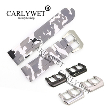 CARLYWET 24mm Hot sell Newest Camo White Waterproof Silicone Rubber Replacement Wrist Watch Band Strap For Luminor